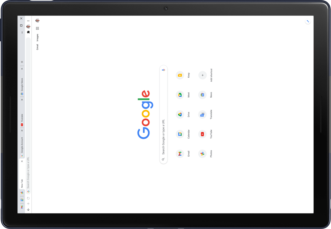 Corner of a Pixel Slate tablet with screen displaying Google.com.