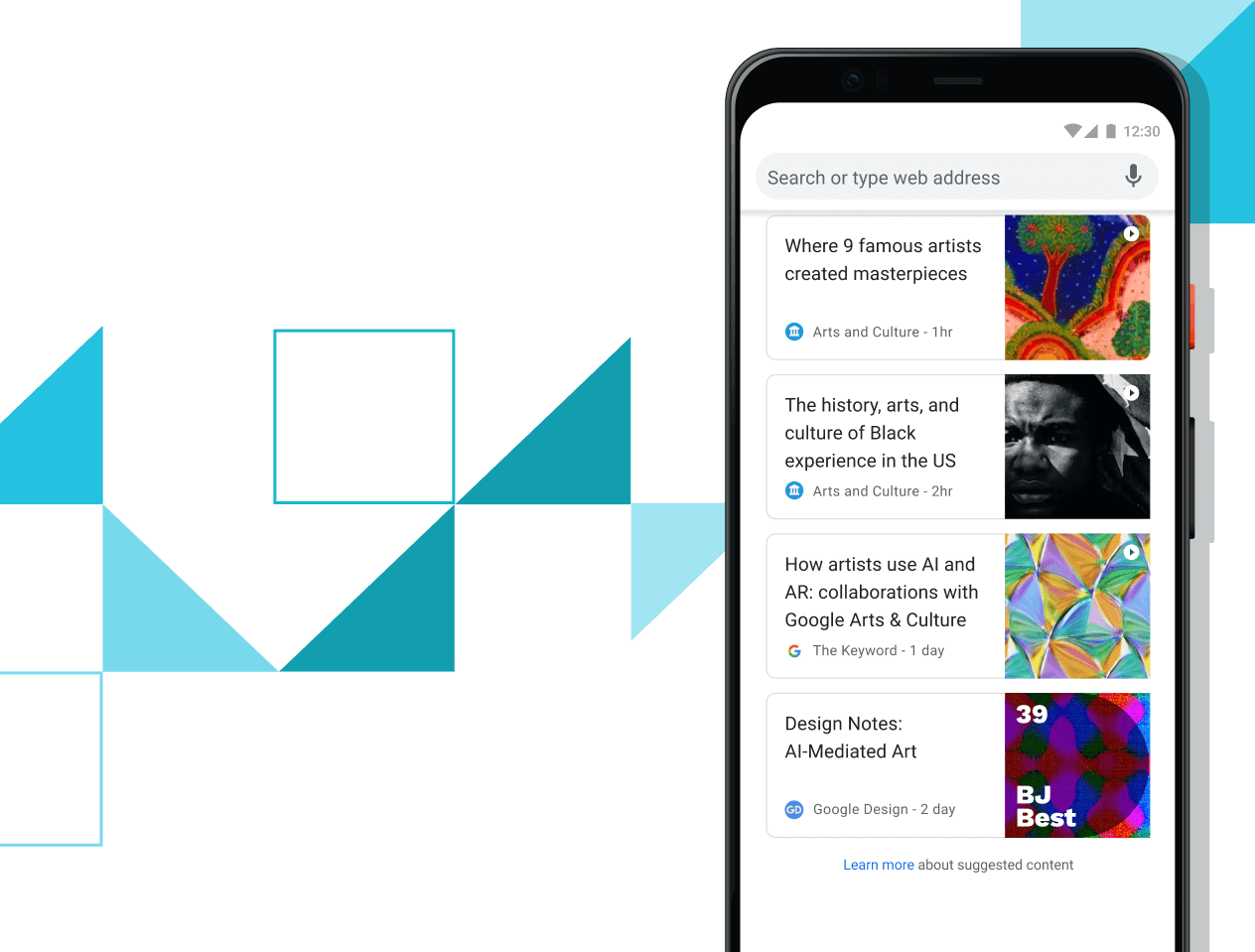Pixel 4 XL phone with screen displaying curated article links.